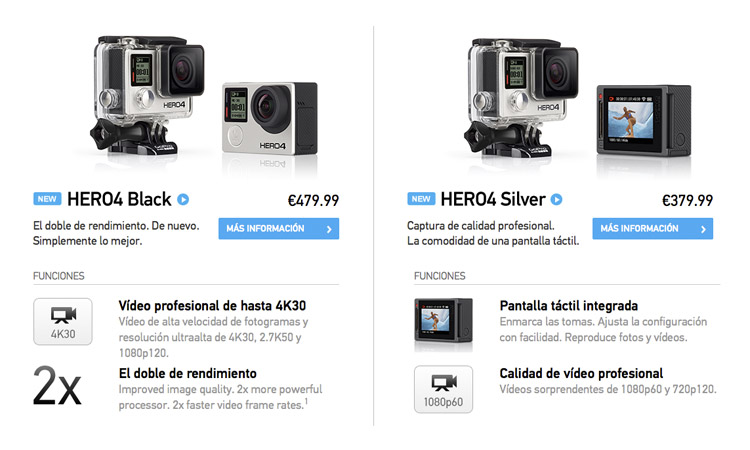 gopro hero4 black silver